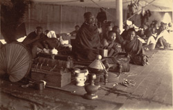 Phoongyees travelling on board one of the Irrawaddy Flotilla Company's steamers from Mandalay to Lower Burmah